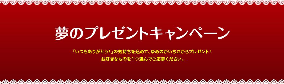 「夢のプレゼントキャンペーン」「いつもありがとう!」の気持ちを込めて、ゆめのかいちごからプレゼント!お好きなものを1つ選んでご応募ください。
